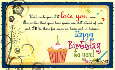 Happy Birthday Wises Cards For friends: with each i'll love you more,