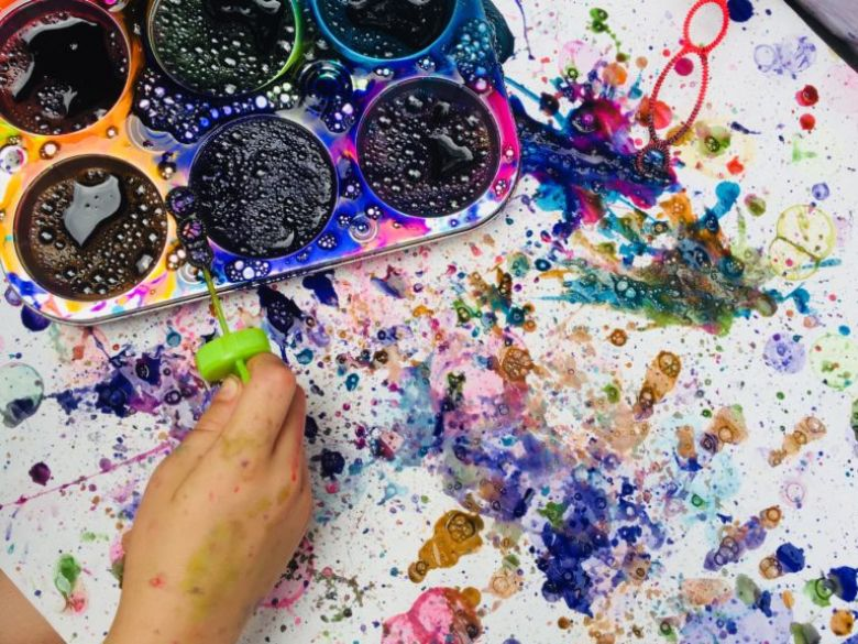 bubble painting summer activities for preschoolers