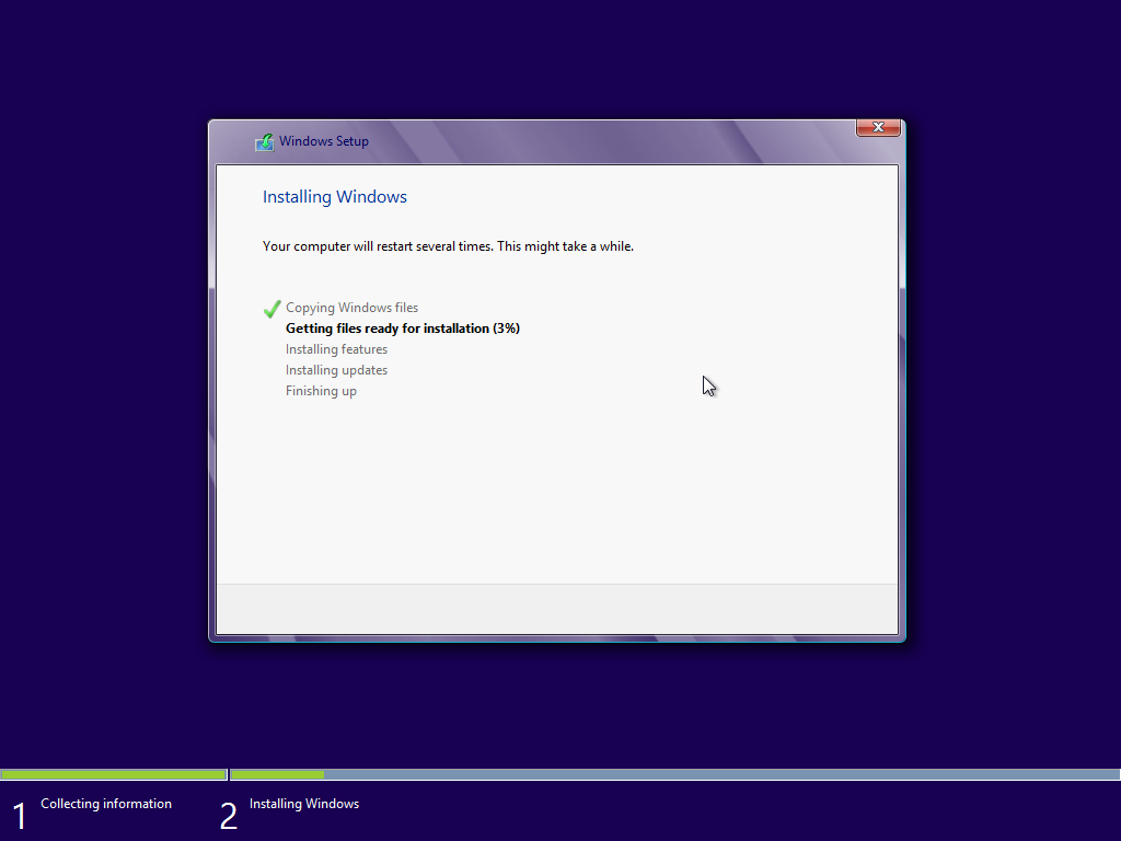 menunggu proses installasi windows 8