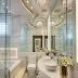 Banheiro contemporâneo com banheira todo branco e sofisticado!