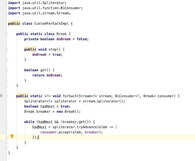 java 8 custom forEach() methd for Stream API