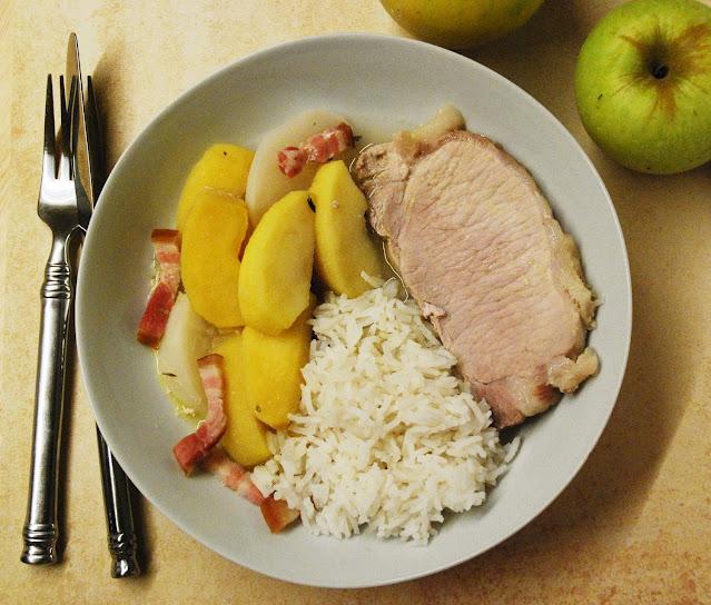 Rôti de porc aux pommes et navets
