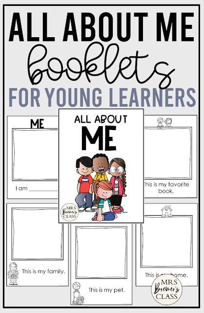 All About Me student booklets with templates for illustrations for PreK and Kindergarten