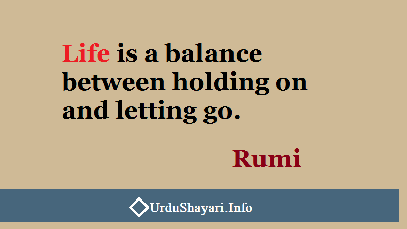 quotes on Life, Rumi on balance. Life is a balance between holding on and letting go