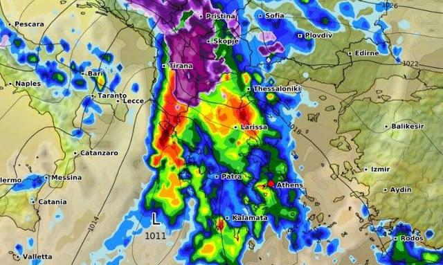 Έρχονται ισχυρές βροχές και καταιγίδες το τριήμερο 17 - 19 Νοέμβρη (πρόγνωση από την ΕΜΥ)
