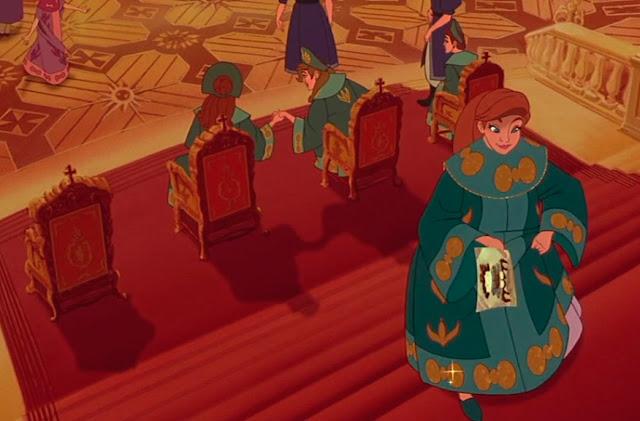 Nesta cena Anastasia esta subindo uma escadaria ao fundo tres tronos um vazio, nos outros suas tres irmas, todas sentadas uma do lado da outra