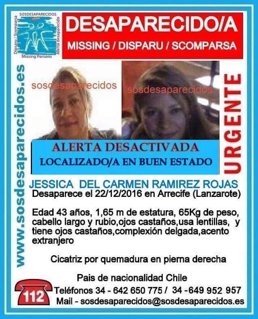 Localizada en buen estado Jessica del Carmen Ramírez Rojas,  la  mujer desaparecida desde el 22 de diciembre en Arrecife de Lanzarote