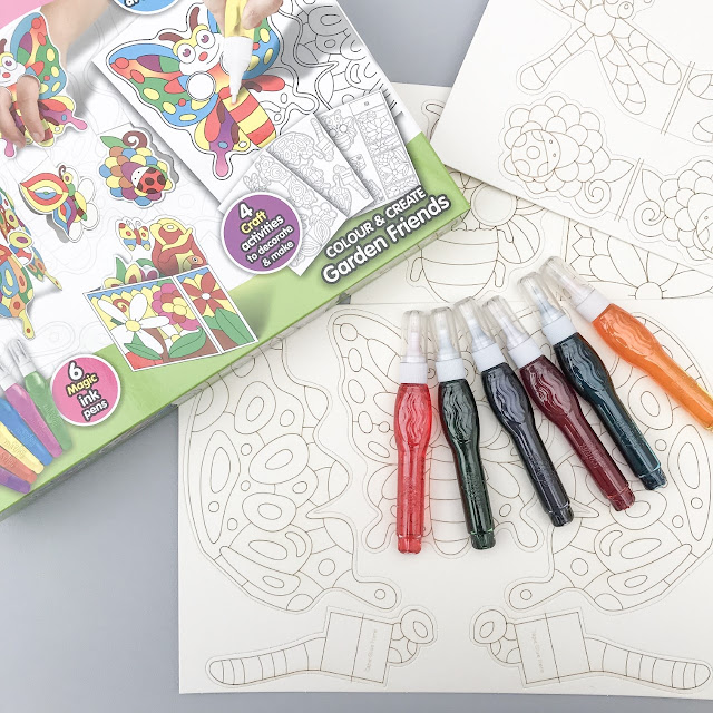 ColourMazing box next to the contents, card pictures and pens