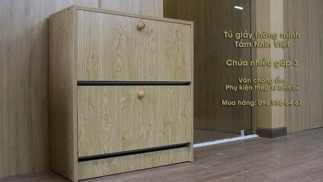 Tủ giày thông minh 2 ngăn chứa bằng gỗ