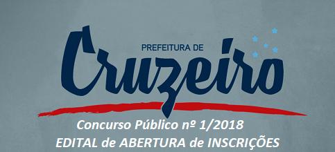 Concurso Púbico Prefeitura de Cruzeiro - SP (edital e Inscrição) 2018