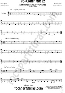 Partitura de Clarinete  Yankee Doodley, Las 3 hojitas, La Pastora Popurrí Mix 22 Sheet Music for Clarinet Music Score