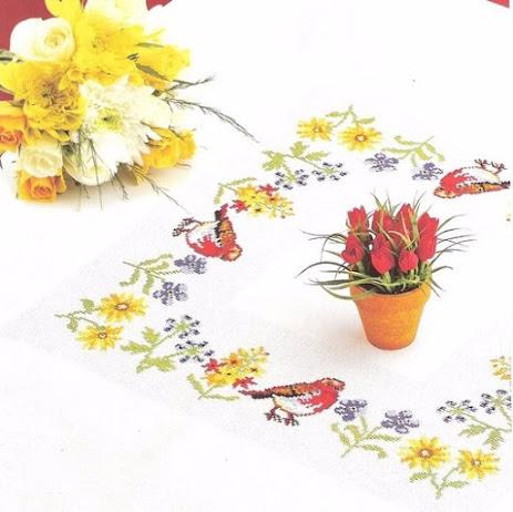 Tovagliette e runner con fiori e uccellini