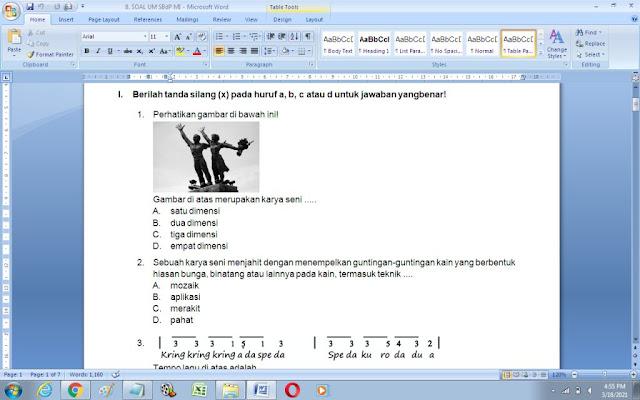 Soal UM Seni Budaya dan Prakarya (SBdP) Kelas 6 MI