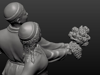 """Sculptural composition """"Pair with a bouquet of flowers and a bunch of grapes"""""""