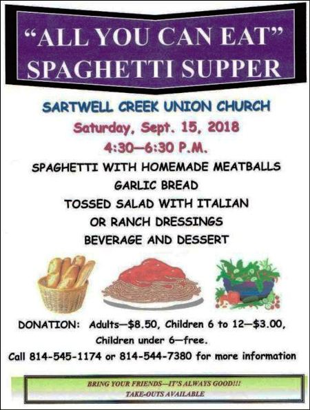 9-15 Spaghetti Supper, Sartwell Creek Union Church