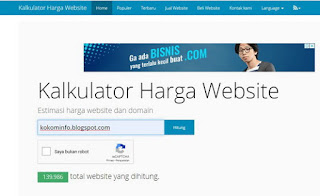Cara Cek Harga Website dan Blog di ceksite.com