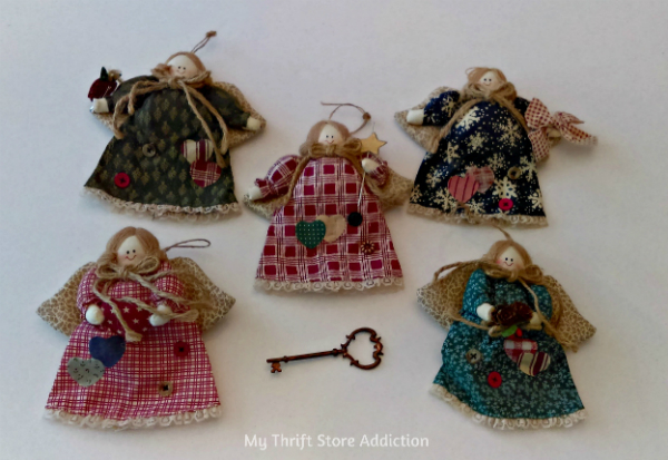Rustic angel Christmas ornaments