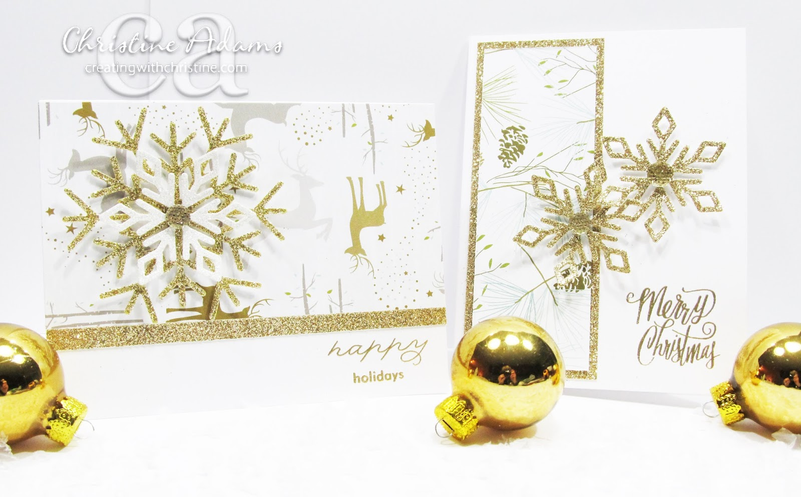 are you ready for more sparkly christmas goodness the oh deer papers are soft winter colors ive paired one of the papers with gold and white glitter - Deer Christmas Cards