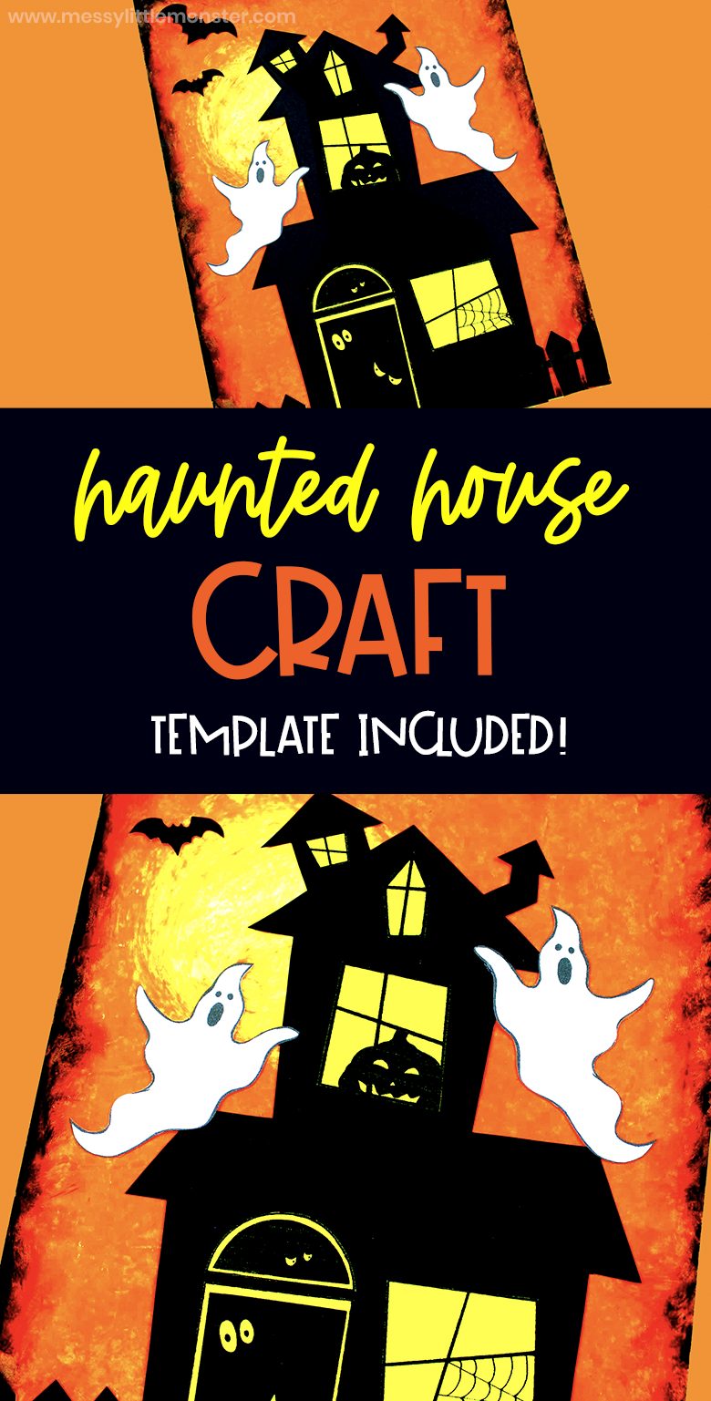 Halloween craft for kids. Haunted house craft using a fun oil pastel art technique. Haunted house template included.