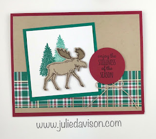 Stampin' Up! Merry Moose Wrapped in Plaid Christmas Card ~ 2019 Holiday Catalog ~ www.juliedavison.com