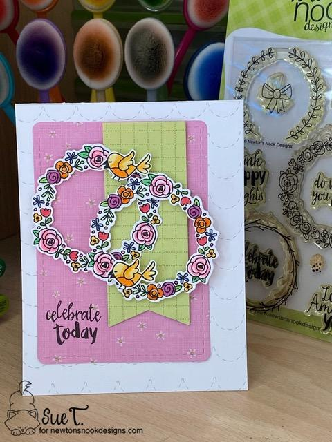 Let's Celebrate by Sue features Happy Little Thoughts, Newton's Valentine, and Frames & Flags by Newton's Nook Designs; #inkypaws, #newtonsnook, #cardmaking