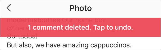 تم حذف شعار يظهر التعليق مع خيار التراجع