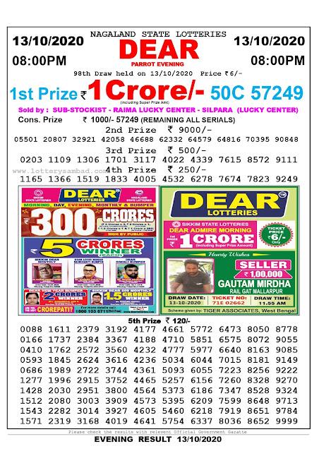 Lottery Sambad 13-10-2020, Lottery Sambad 8 pm results, Nagaland Lottery Results, Lottery Sambad Today Results Live, Night results