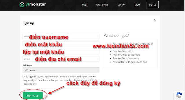 Hướng dẫn đăng ký tài khoản ytmonster - bước 1