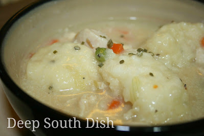 A classic southern comfort dish made of stewed chicken with fluffy drop dumplings.