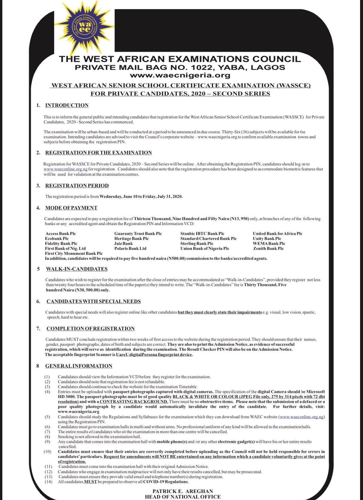 WAEC GCE 2020 Registration Form