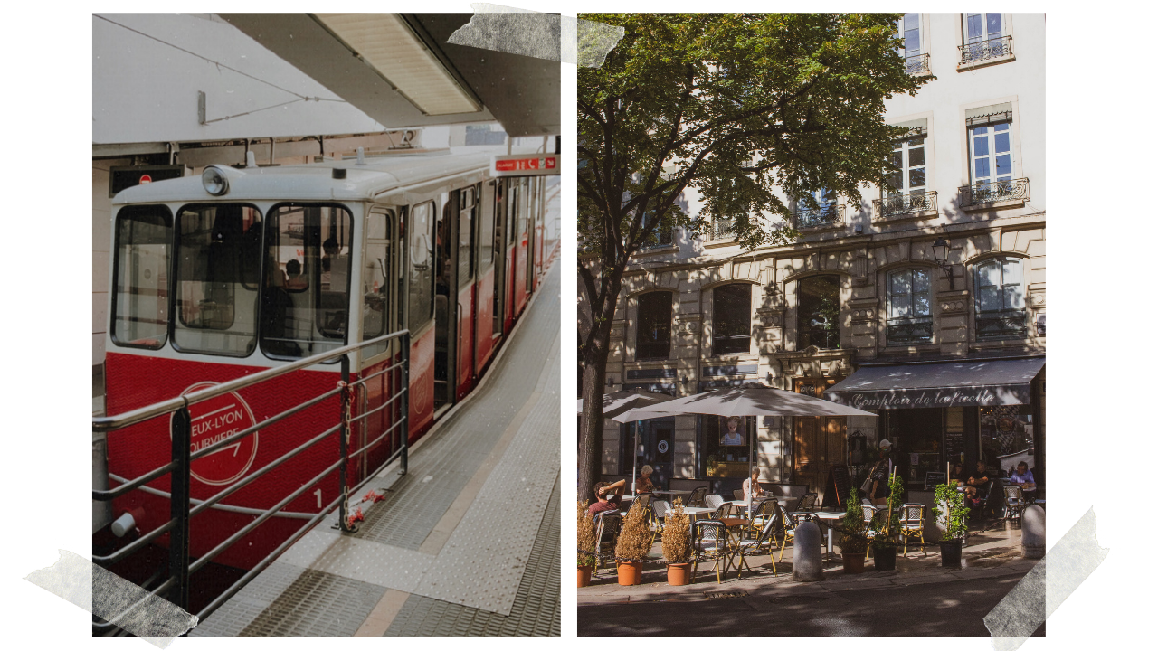 Funiculaire de Lyon and a cafe by the station