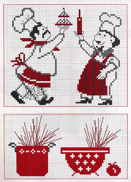 Tanti piccoli soggetti  per decorare e personalizzare asciugapiatti,grembiuli, presine, guanti e bordi per tovagliette all'americana