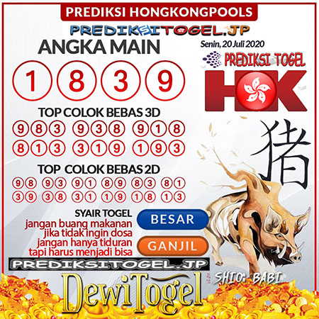 Prediksi Dewi Togel Hongkong HK Senin 20 Juli 2020
