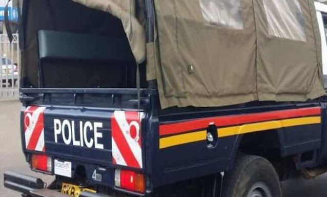 Police car with a pharmacist surrendered himself