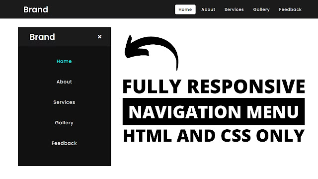 Responsive Navigation Menu Bar Design using only HTML & CSS