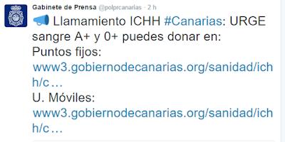 Se necesita urgente en Canarias sangre A positivo y 0 positivo