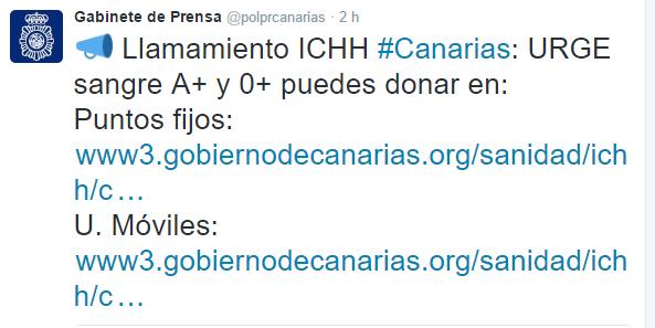 Urge sangre A+ y 0+ en Canarias  18 enero