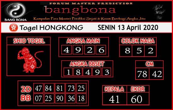 Prediksi HK Senin 13 April 2020 - Prediksi HK Bang Bona
