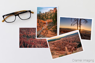 Cramer Imaging's staged photo of four landscape prints of Bryce Canyon National Park on white background with glasses