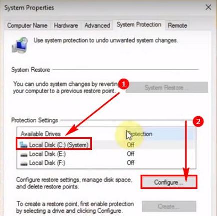 Tắt System Restore máy tính chạy Windows 10