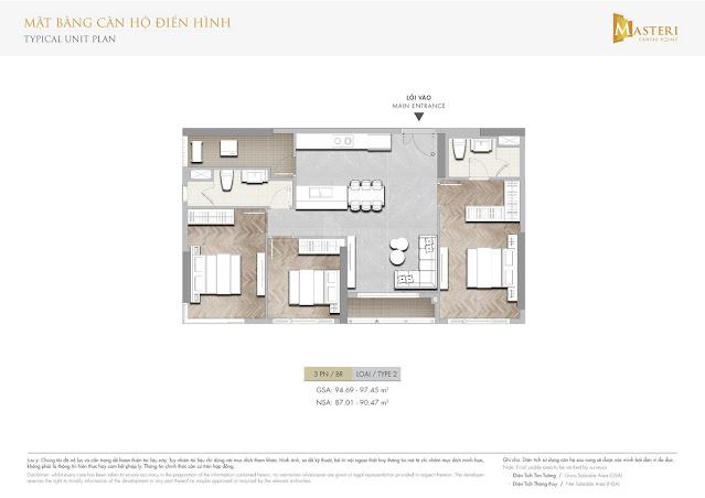 Thiết kế căn hộ Masteri Centre Point Quận 9