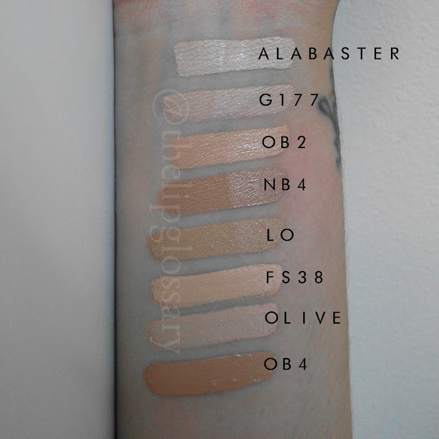 Kryolan Ultra Foundation Swatch Alabaster G177 OB2 NB4 LO FS38 Olive OB4