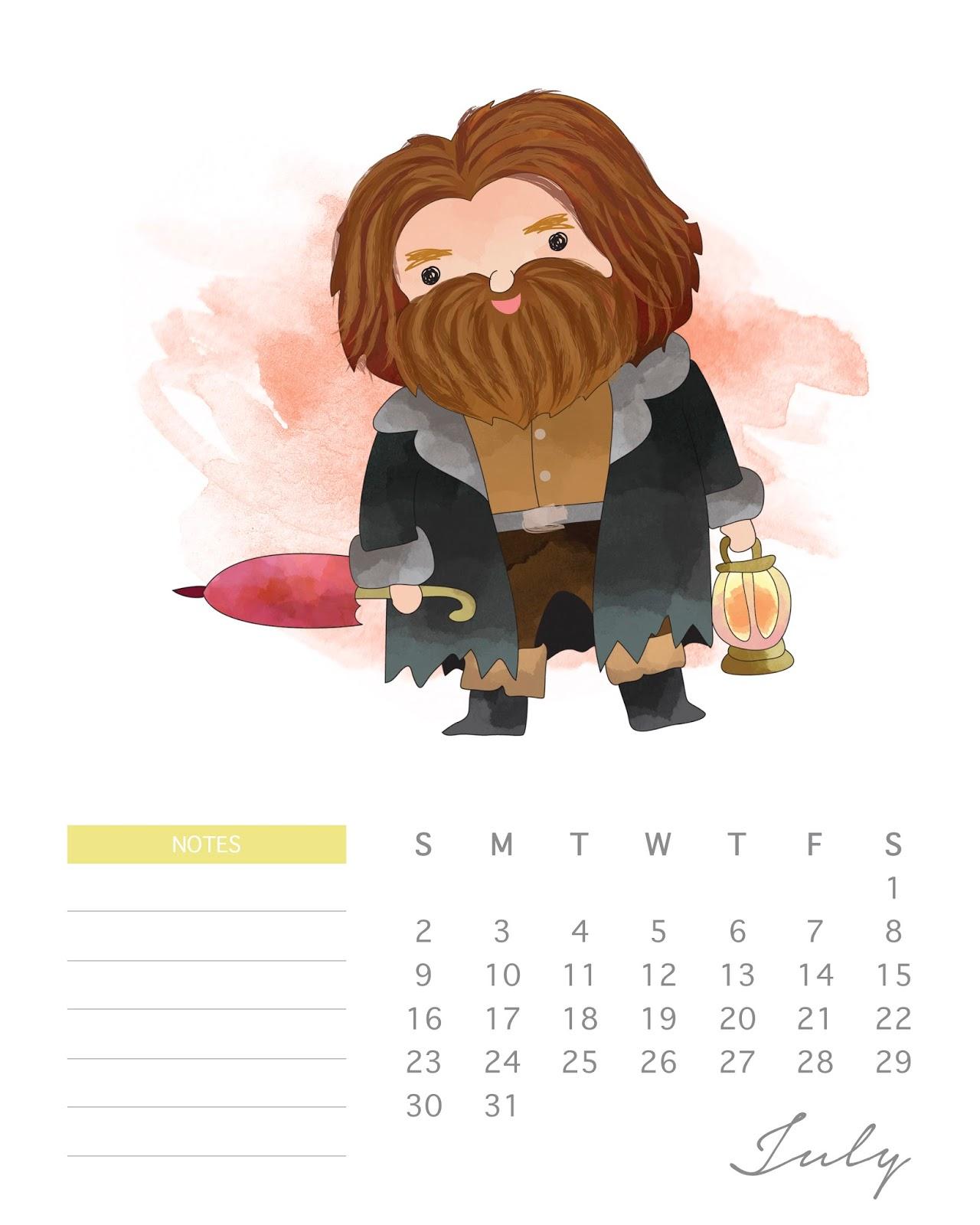 Anime July 2019: Calendario 2017 De Harry Potter Para Imprimir Gratis.