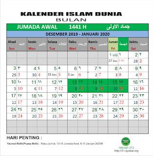 Kalender Islam Dunia Bersatu Bulan Jumada Awal 1441 H