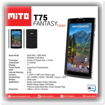 Mito-T75-Tablet Murah Ram 1GB 700 Ribuan April 2016