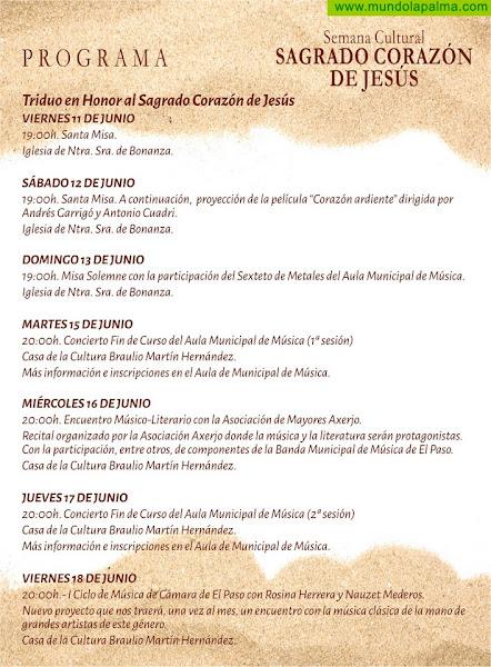 Programa Semana Cultural en honor al Sagrado Corazón de Jesús El Paso