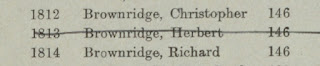 A section of the absent voters list showing three males from the same family in the military.