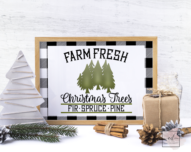 Free farm fresh buffalo plaid Christmas printable for your home and craft projects!   #buffaloplaid #christmas #printables #freebie