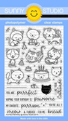 Sunny Studio Stamps: Introducing Purrfect Birthday 4x6 Cat Themed Clear Stamps