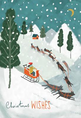 Biglietto di auguri: slitta natalizia trainata da cani